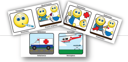 three sample communication cards