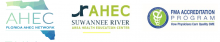 series of logos for the Florida Area Health Education Center Network, the Suwannee River Area Health Education Center and the Florida Medical Association Accreditation Program