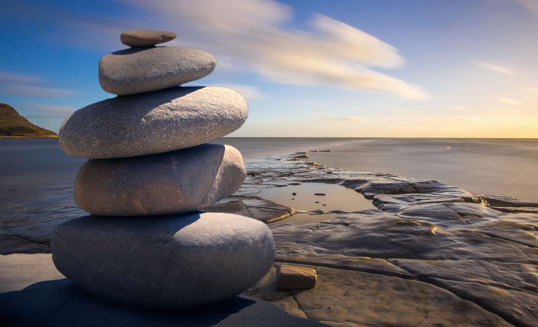 stack or rocks on a beach shore